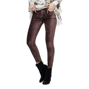 Free People Cyndi High Rise Velvet Pant Skinny 30